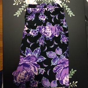 Lularoe tween leggings purple floral, black